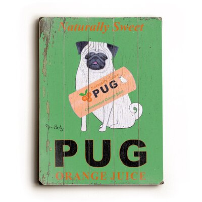"Artehouse LLC Pug Planked Wood Sign - 20"" x 14"""