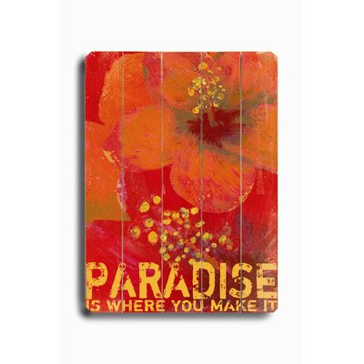 "Artehouse LLC Paradise Planked Wood Sign - 20"" x 14"""