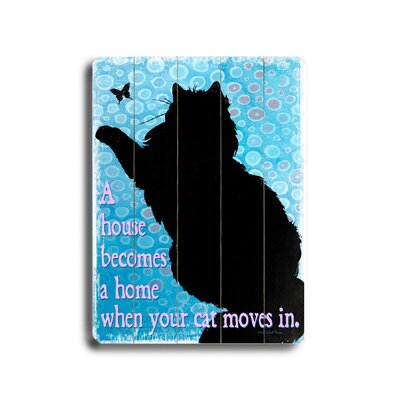 "Artehouse LLC Cat Moves in Planked Wood Sign - 20"" x 14"""