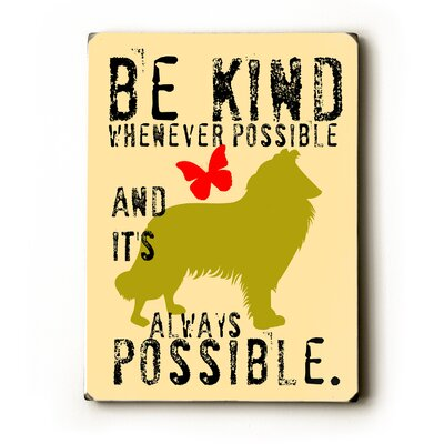Be Kind Textual Art Plaque