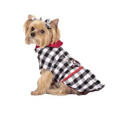 Buffalo Plaid Dog Coat in Black/White