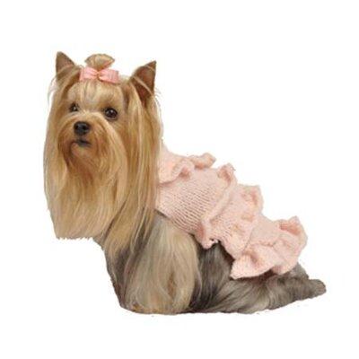 Max's Closet Multi Ruffle Dog Sweater Dress with Rosette