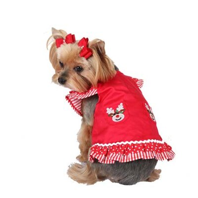 Max's Closet Reindeer Holiday Dog Dress