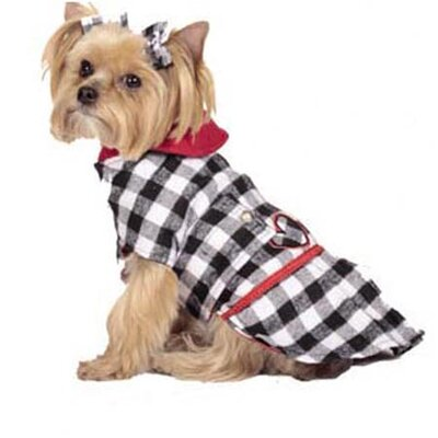 Max's Closet Buffalo Plaid Dog Coat in Black/White