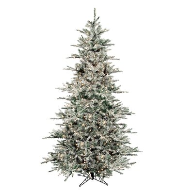 Regency International Flocked Vail 7.5' Green Artificial Christmas Tree with 750 Prestrung ...