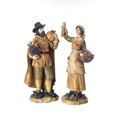 Regency International Harvest Pilgrims Figurine Set (Set of 2)
