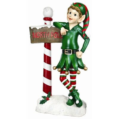 Regency International Elf With Sign Statue Christmas