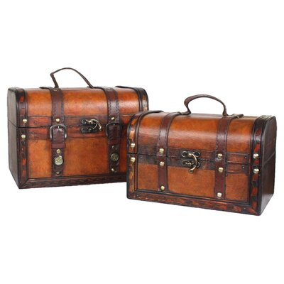 <strong>Quickway Imports</strong> Decorative Leather Treasure Box (2 Piece Set)