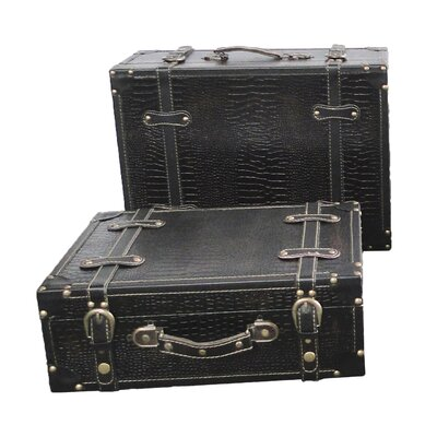 Quickway Imports Antique Style Suitcase With Stripes (Set of 2)