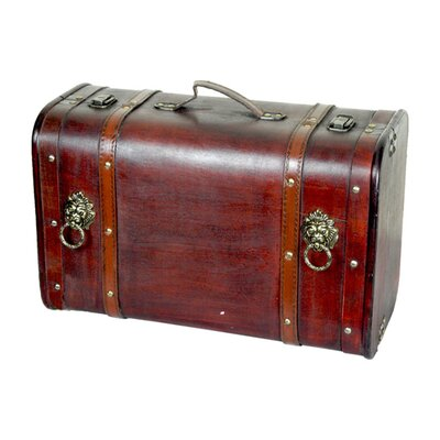 Quickway Imports Antique Pirate Suitcase with Lion Rings
