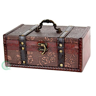 Quickway Imports Decorative Leather Treasure Trunk Box
