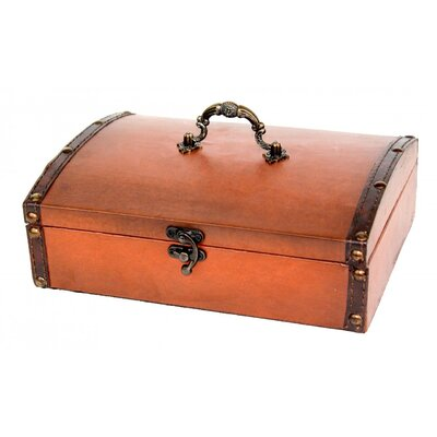 Quickway Imports Small Vintage Style Leather Treasure Chest