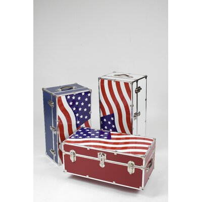 Stanley Case Works Small Patriotic Steel Trunk