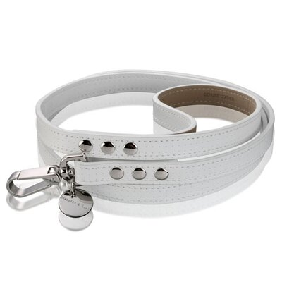 Hennessy & Sons Polo Handmade Perforated Leather Dog Leash in White with White Stitching
