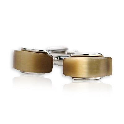 Curved Glass Cufflinks in Gold