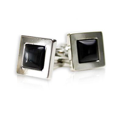 Glass Cufflinks in Dark Gray