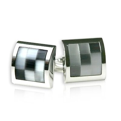 Cuff-Daddy Glass Mosaic Cufflinks in Gray / Silver
