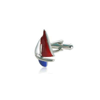 Cuff-Daddy Sailboat Cufflinks in Red / White / Blue