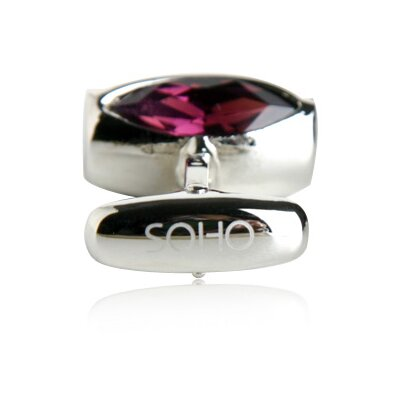 Soho Austrian Glass Vault Cufflinks in Amethyst (Set of 2)