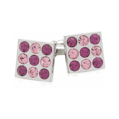 Crystal Bingo Board Cufflinks in Rose and Fuchsia (Set of 2)