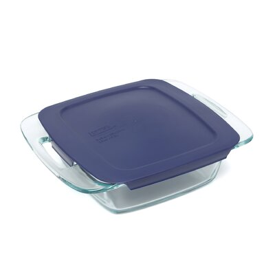 "Pyrex Easy Grab 8"" Square Baking Dish with Plastic Cover"