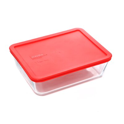 Storage Plus 11-Cup Rectangle Storage Dish with Red Plastic Cover