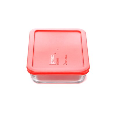 Pyrex Storage Plus 3-Cup Rectangle Storage Dish with Red Plastic Cover