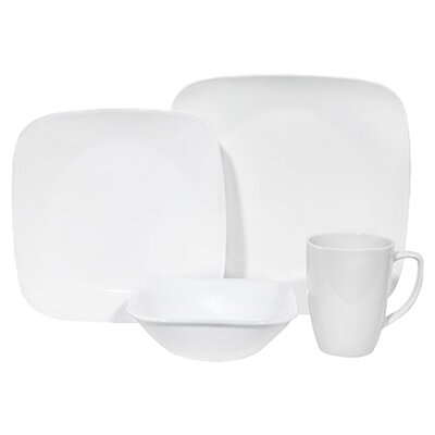 Square Pure White 16 Piece Dinnerware Set
