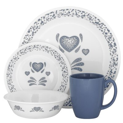 Livingware Blue Hearts 16 Piece Dinnerware Set