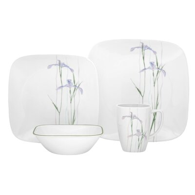 Corelle Shadow Iris Square 16 Piece Dinnerware Set