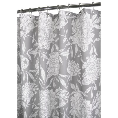Watershed Peony Shower Curtain in Antique Silver / White