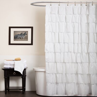 Special Edition by Lush Decor Ruffle Shower Curtain in White