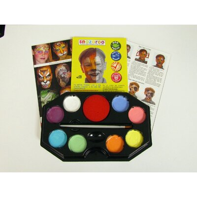 SnazarooUSA Pastel Rainbow 8 Color Face Paint Kit with Brush and Sponge