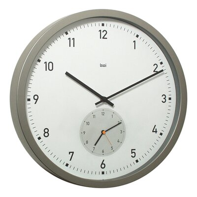 "Bai Design 12.5"" Here and There Twin-Dial Modern Wall Clock"