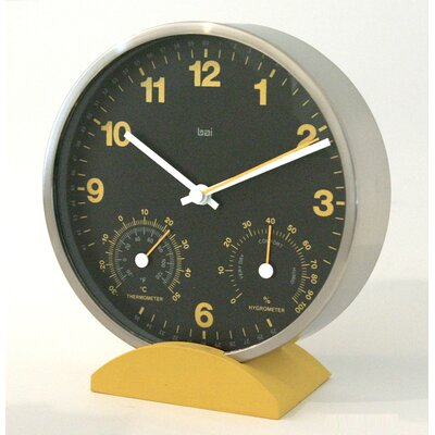 Bai Design Convertible Weather Station Wall Clock with Stand in Ocher