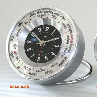 Bai Design Auto-Align World Trotter Travel Alarm Clock