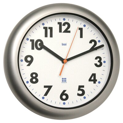 Bai Design Aquamaster Weatherproof Wall Clock in Satin Silver