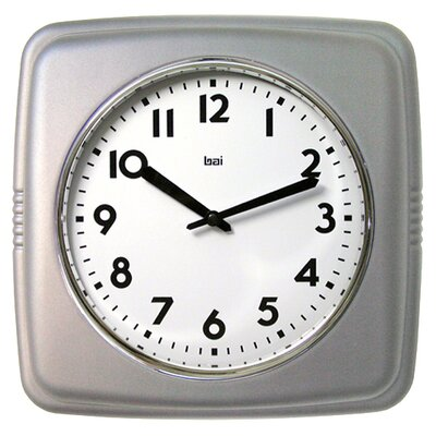 Square Retro Wall Clock in Satin Silver