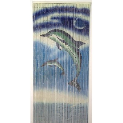 Bamboo54 Natural Bamboo Dolphins Design Curtain Single Panel