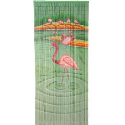 Bamboo54 Natural Bamboo Flamingoes Curtain Single Panel