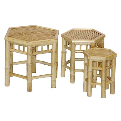 <strong>Bamboo54</strong> Natural Bamboo 3 Piece Nesting Stools Set