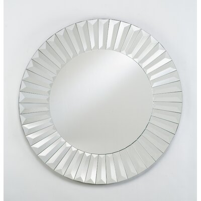 "Afina Radiance 24"" Round Cut Glass Wall Mirror"