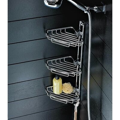 Toscanaluce by Nameeks Chrome Corner Shower Tray with Robe Hook