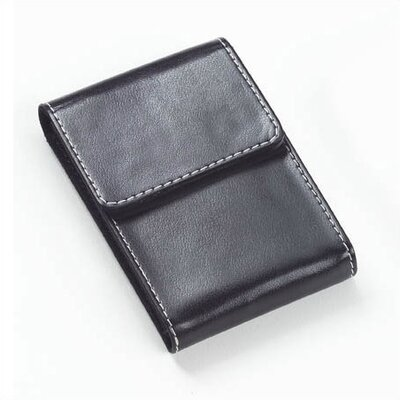 Clava Leather Bridle Flip Top Business Card Holder in Black