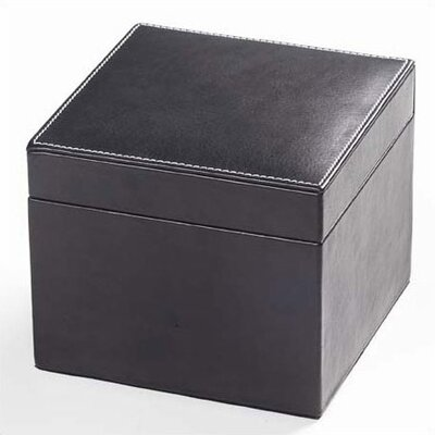 Clava Leather Tuscan Cube Box in Black