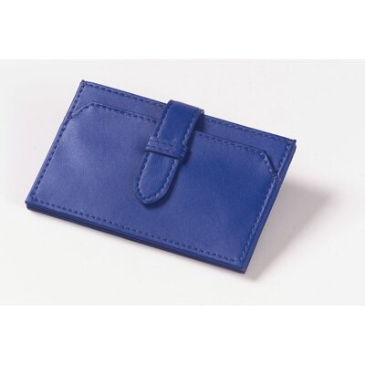Clava Leather Accordion Business Card Wallet in Blue