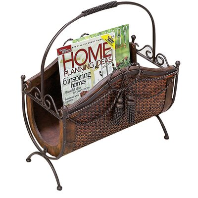 Toscana Wood and Metal Magazine Rack
