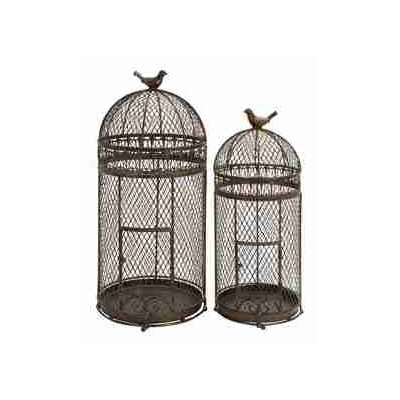 UMA Enterprises Rustic Metal Free Standing Bird Cages (Set of 2)