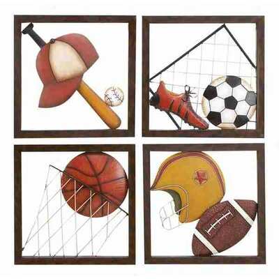 UMA Enterprises Loft Metal Baseball Décor (Set of 4 Assorted)