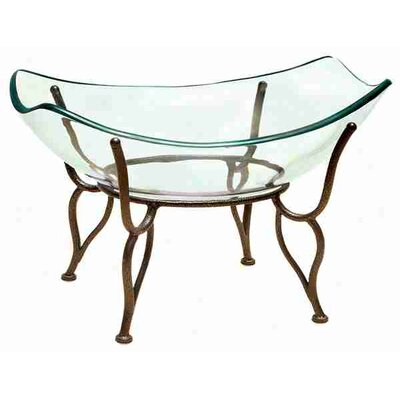 Urban Trends Modern Art Glass Bowl with Metal Stand